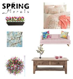 """Spring Florals"" by supersummerlover ❤ liked on Polyvore featuring interior, interiors, interior design, home, home decor, interior decorating, Improvements, Pine Cone Hill, Gus* Modern and Pillow Perfect"