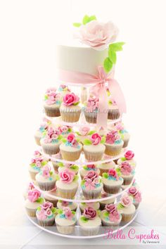 Cupcake tower with cake. I need to change the theme and colors on this cake but I love it!