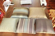 Throw pillow covers out of upholstery fabric swatches