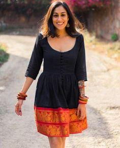 Midnight Black and Orange Fit & Flare Madurai Saree Dress