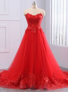 Red tulle prom gowns ,strapless long evening dress,