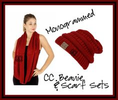 Monogrammed CC Beanie and Scarf Sets  Great by BlueSuedeStitches
