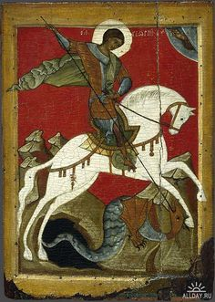 Saint George and the Dragon, Russian icon, Novgorod School, late century, Byzantine Icons, Byzantine Art, Religious Icons, Religious Art, Patron Saint Of England, Saint George And The Dragon, Russian Icons, Montage Photo, Thinking Day