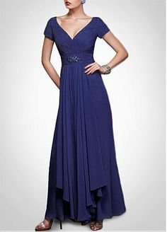 Buy discount Futuristic Chiffon A-line V-neck Neckline Ankle-length Mother of the Bride Dress at Dressilyme.com