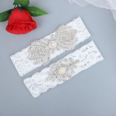 Luxury Wedding Garter Sets Handmade with White Lace and Pearl Beads