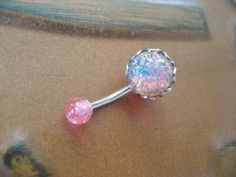 Pink Fire Opal Belly Button Jewelry Ring Stud- Navel Piercing Stone Bar Barbell from Azeeta Designs. Saved to My Belly Rings. Diamond Belly Button Rings, Belly Button Piercing Jewelry, Bellybutton Piercings, Belly Rings, Piercings Rook, Gauges, Piercing Eyebrow, Navel Piercing, Body Piercing