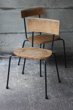 Oliver Cox; Wood and Enameled Metal School Chairs, 1950s.