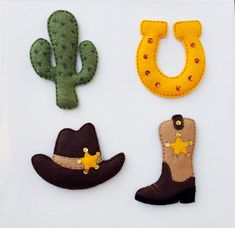 Lucky cowboy felt magnets or ornamentsSet by CozyFeltCraftAndMore