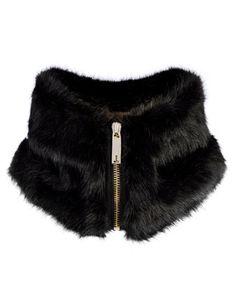 Faux fur collar - Black   Scarves   Ted Baker