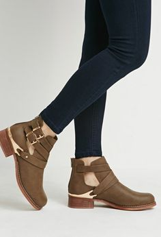 Buckled Cutout Faux Leather Booties  ff03e5b3a