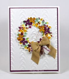 Stampin Up Wondrous Wreath & Cable Knit Embossing Folder Happy Stampers Blog Hop - Stamping With Kristi