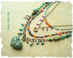 Bohemian Necklace Boho Gypsy Hippie Colorful Beaded Necklace