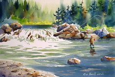 15 inches X 22 inches watercolour in a private collection in Philadelphia Watercolor Paintings Nature, Watercolor Mixing, Watercolor Water, Watercolor Trees, Waterfall Drawing, Waterfall Paintings, Art Aquarelle, Rain Art, Art Village