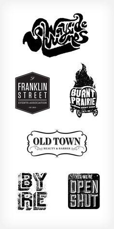 Miscellaneous logos (Wayside Shrines, Franklin Street Events Association, Old Town Beauty & Barber, Byre, Open/Shut)