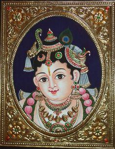 More Tanjore Paintings - Golden Streak Adorn Your Life with ART 3d Art Painting, Pichwai Paintings, Kerala Mural Painting, Marble Painting, Krishna Painting, Indian Art Paintings, Madhubani Painting, Krishna Art, Painting Wallpaper