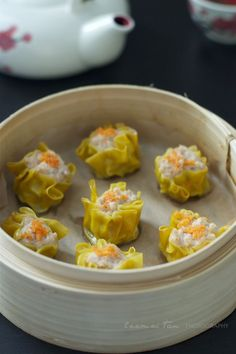 shumai/siumai (pork & prawn dumplings). I would totally do this with chicken, and no seafood though.
