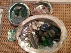 some of my favorite sea glass inside of my favorite abalone.