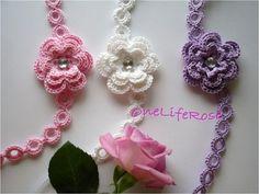 3 Set Crochet Chokers with 3D Flower - OnelifeRose - Collars.  Ideas!