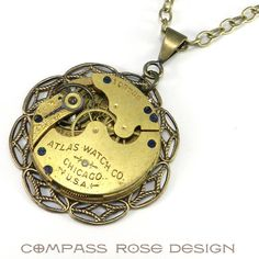 Industrial Necklace - Chicago Atlas Watch Movement - Brass from Compass Rose Design Jewelry www.compassrosedesignjewelry.com