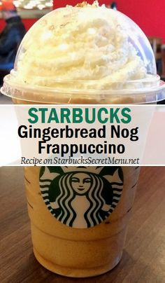keto frappucino starbucks The Gingerbread Nog Frappuccino is rich, creamy and most importantly, it's delicious! Starbucks Hacks, Starbucks Secret Menu Drinks, Starbucks Frappuccino, Starbucks Coffee, Coffee Drink Recipes, Coffee Drinks, Milkshake Recipes, Milkshakes, Coffee Cafe