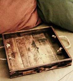 Small Reclaimed Wood Serving Tray With Rope Handles - Espresso Stained