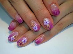 Flowers nail art designs for short nails