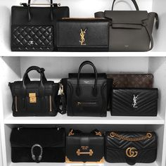 wardrobe organisation /Designer luxury closet wardrobe organisation / Louis Vuitton Handbags - Bag Dictionary Ikea Billy Bookcase with doors for designer handbag storage Bags Worth the Investment Lv Bags, Gucci Bags, Ysl, Hijab Simple, Louis Vuitton Bags, Fake Designer Bags, Designer Belts, Replica Handbags, Designer Handbags
