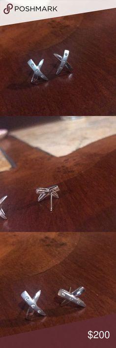 Diamond studded Silver x earrings. Beautiful silver and diamond studded earrings. Jewelry Earrings