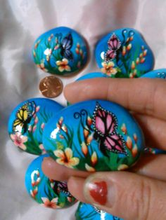Hand Painted Rocks by Glamouraccents on Etsy