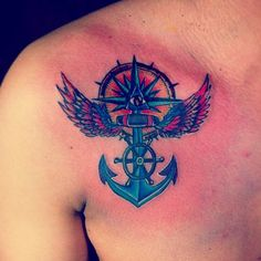 winged anchor tattoo with ship wheel for men