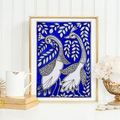 Blue Original Madhubani Mithila Painting 5X7  Indian by ColorAlley