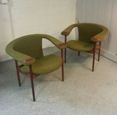Mid Century Adrian Pearsall Avacado Green Chairs, 1960s