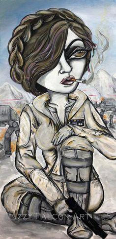 10x20 Print Star Wars Hoth Princess Leia Lowbrow by lizzyfalconart