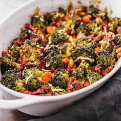 My favorite recipe for roasted vegetables! This is a delectable roasted broccoli salad with carrots, parmesan cheese, balsamic vinegar and PLENTY of garlic!