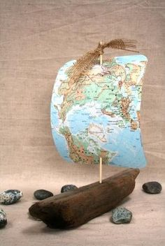 Driftwood Sailboat with Map Sail by TheSeaMerchant on Etsy, $42.00