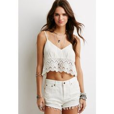 Forever 21 Crochet-Hem Crop Top ($16) ❤ liked on Polyvore featuring tops, print crop top, cami crop top, camisole tops, strappy top and forever 21 tops
