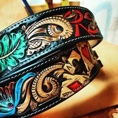 #custombelt #paintedbelt #aces #leather #handdrawn #
