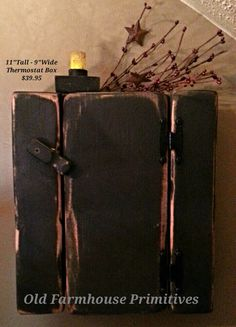 Primitive Black Distressed Wood Thermostat Box Cover