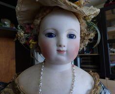 "Antique French Fashion BIsque Doll EB Barrois 21"" Original Dress"