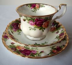 trio: taza, plato té y postre porcelana inglesa royal albert