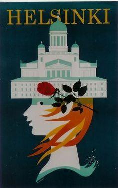Vintage Travel Poster - Helsinki - Finland - 1960's.