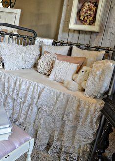 Vintage lace nursery crib bed skirt