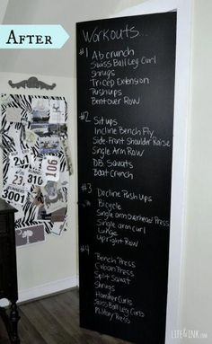 Chalkboard paint in workout room! Great idea to keep workouts visual., Chalkboard paint in workout room! Great idea to keep workouts visual. Chalkboard paint in workout room! Great idea to keep workouts. Basement Workout Room, Workout Room Decor, Workout Room Home, Workout Rooms, At Home Workouts, Exercise Rooms, Best Home Gym Setup, Diy Home Gym, Gym Room At Home