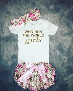 Who run the world girls baby girl outfit, baby girl clothes, baby girl onesie, baby girl shirt, baby girl clothes, baby shower gift, by TutuCuteBoutiqe on Etsy https://www.etsy.com/listing/279932524/who-run-the-world-girls-baby-girl-outfit