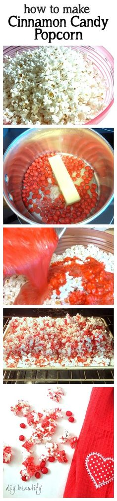 Steps for making Cinnamon Candy Popcorn using red hots ~ DIY beautify blog