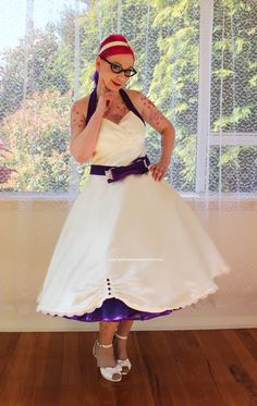 """1950's """"Sophia"""" Ivory Wedding Dress with Purple Halterneck Trim and Belt, Tea Length Skirt and Petticoat - Custom made to fit - Any Colour on Etsy, $362.03"""