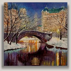 """Winter Night In Central Park""  ...YARY DLUHOS New York City Central Park Night Original IMPRESSIONISM Oil Painting #Impressionism"