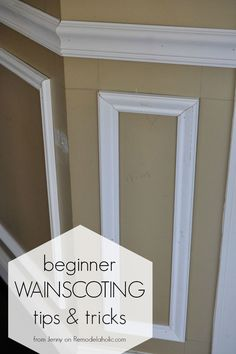 Installing trim wainscoting, such as a chair rail or shadow box molding, instantly updates your home Picture Frame Wainscoting, Dining Room Wainscoting, Wainscoting Nursery, Wainscoting Ideas, Black Wainscoting, Painted Wainscoting, Wainscoting Height, Wainscoting Panels, Installing Wainscoting