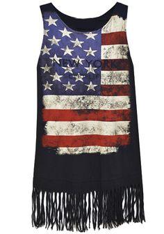 Black American Flag Print Distressed Tassel Tank Dress