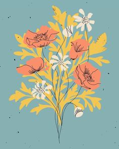 Flowers Background Wallpapers Floral Patterns New Ideas Illustration Blume, Botanical Illustration, Cute Illustration, Drawn Art, Plant Drawing, Flower Art Drawing, Flower Backgrounds, Floral Illustrations, Gouache